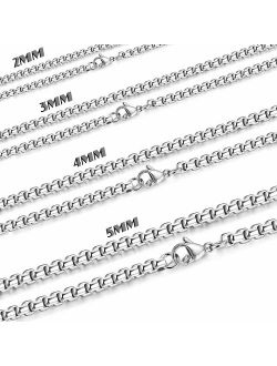 Besteel 2-5mm Womens Mens Stainless Steel Rolo Cable Wheat Chain Link Necklace 16-36 Inch