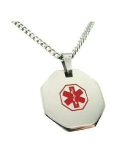 My Identity Doctor - Medical Alert Womens Mens Necklace with Pendant - Custom Engraving for Diabetes Warfarin Dialysis Stroke Pacemakers