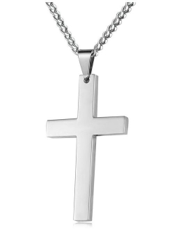FIBO STEEL Stainless Steel Cross Pendant Chain Necklace for Men Women, 22-30 Inches