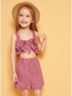 Toddler Girls Knotted Front Gingham Tank Romper