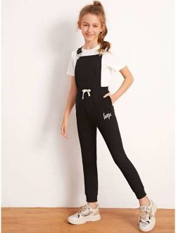 Girls Tied Waist Letter Graphic Pinafore Jumpsuit