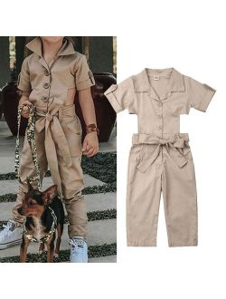 Fashion Toddler Kids Baby Summer Solid Coveralls Backless Romper Romper Jumpsuit Clothes For Girls 2-7T