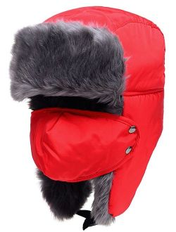 Odema Unisex Women Men Trooper Hat Ear Flap Bomber Hat Winter Fur Hunting Hat