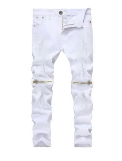 Kihatwin Big Boy's Casual Skinny Ripped Jeans Slim Fit Distressed Zipper Pants with Holes