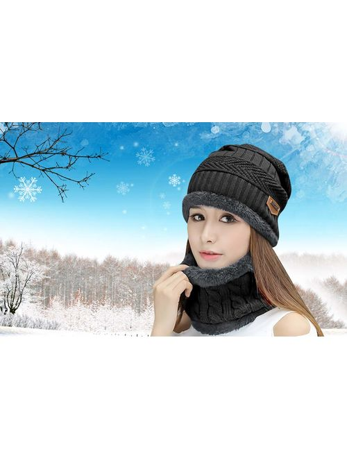 HINDAWI Womens Beanie Winter Hat Scarf Set Slouchy Warm Snow Knit Skull Cap