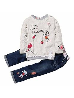 Kids Tales Little Girl's Long Sleeve Cartoon Pullover Shirt and Jeans Pants Outfit Set
