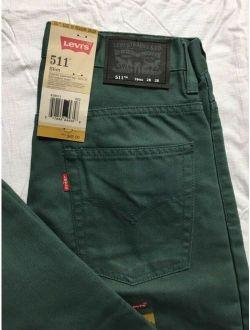 Levis 511 Jeans Boys 16 Regular 28x28 Slim Fit Slightly Tapered Waterlog Green