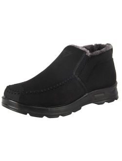 iloveSIA Men's Warm Fur Lining Slipper Loafer Winter Faux Fur Line Ankle Boots