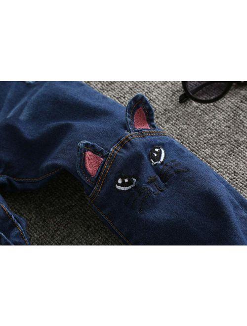 Sitmptol Big Girls Kids Pull on Skinny Jean Cute Dog Printed Teens Denim Pants Blue