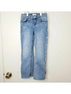 Hudson Girls Size 8 Side Button Detail Blue Denim Straight Leg Jeans