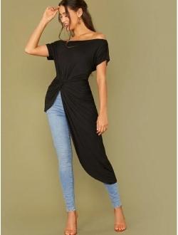 Women's Elegant Asymmetrical Twist Front Off Shoulder Top Plain High Low Blouse