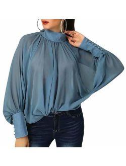 MOUSYA Women High Neck Chiffon Blouse Long Sleeve Blue Blouse Loose Fit Top Shirt for Lady