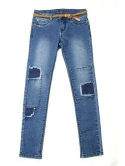 Girl's Jean Skinny Distressed Stretch Adjustable With Belt Size 10
