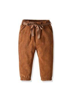 Toddler Girls Corduroy Self Tie Carrot Pants