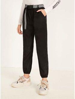 Girls Checked Buckle Belted Slant Pocket Wind Pants