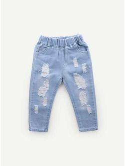 Toddler Girls Plain Destroyed Jeans