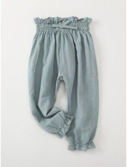 Toddler Girls Frill Trim Solid Pants