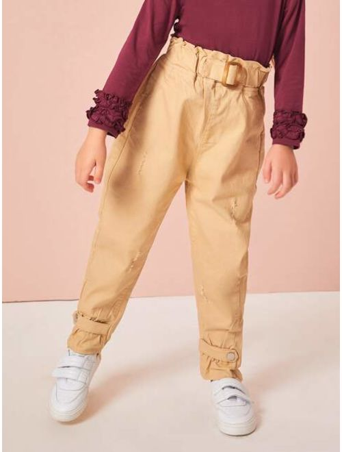 Toddler Girls Ripped Square Buckle Paperbag Pants