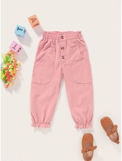 Toddler Girls Flounce Hem Slant Pocket Paperbag Pants