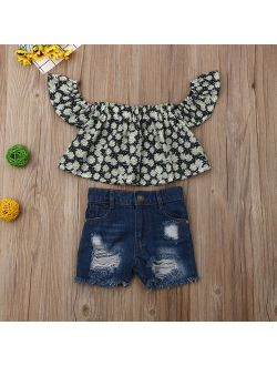 Kid Baby Girl Off Shoulder Floral Crop Top Distressed Short Denim Pants Hollow Jeans Outfit Clothes