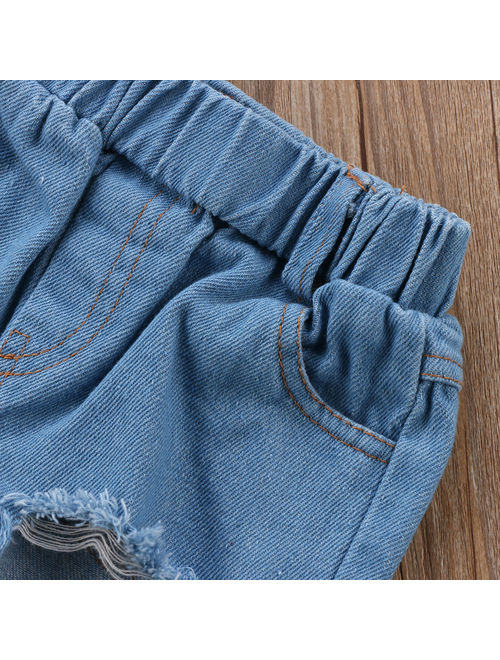 Toddler Kids Girls Tunic Tops + Ripped Denim Jeans Pants Clothing Set