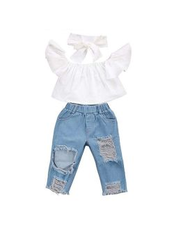 Baby Girls Kids Off Shoulder Top+ Denim Jeans Pants with Headband Outfits Set
