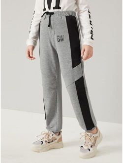 Boys Letter Graphic Contrast Sideseam Sweatpants