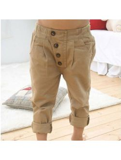 Kacakid Retro Toddler Kid Boy Khaki Casual Pants Pencil Straight Trousers 2-7Y Baby Clothes