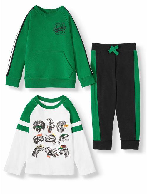 Garanimals Long Sleeve Raglan Graphic Shirt, Long Sleeve French Terry Taped Shirt, and French Terry Jogger Pant, 3pc Outfit Set (Toddler Boys)