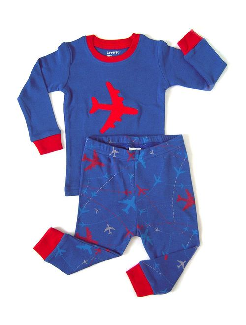 Leveret Kids & Toddler Pajamas Garbage Truck Train Boys 2 Piece Pjs Set 100% Cotton (Size 12 Months-14 Years) (Airplane, 4T)