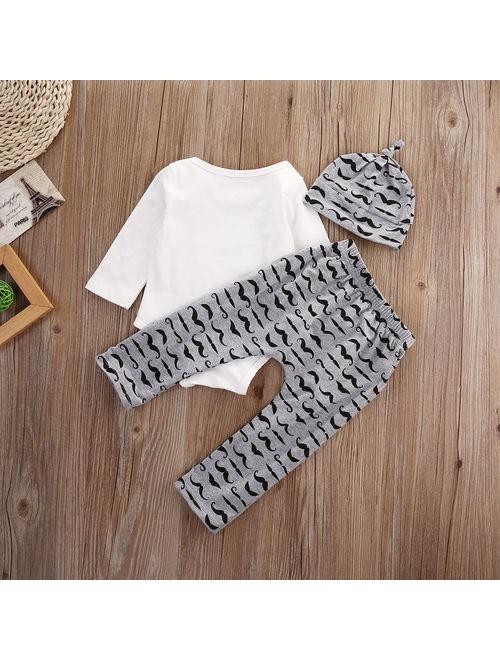 Hirigin Infant Baby Boy Newborn Clothes Romper Jumpsuit +Long Pants Outfits Set Size 0-3Moths