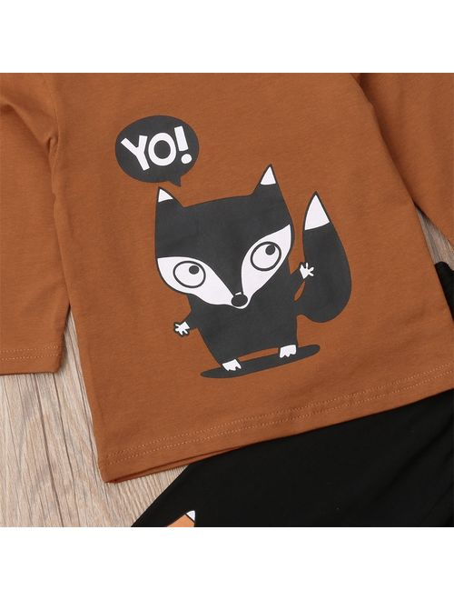 Infant Toddler Baby Kids Boy Animal T-shirt Tops Tees +Long Pants Outfits Set Clothes