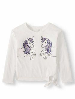 Girls 4-16 Unicorn Graphic Side Tie Long Sleeve T-shirt