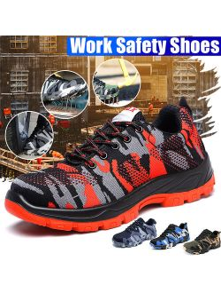 Mens Steel Cap Toe Safety Shoes Work Hiking Boots Protective Military Combat Mesh Breathable Shoes for Outdoor Working Training(Green,Blue,Grey,Red)