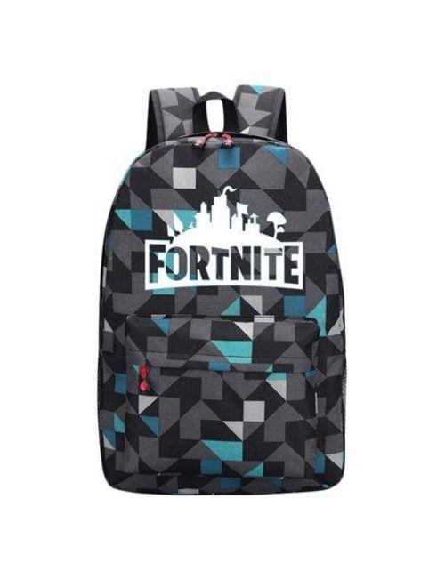 Fortnite School Backpack Childrens Fort Nite Travel Bag Geometric Blue Green Pixel Fortnite Backpack