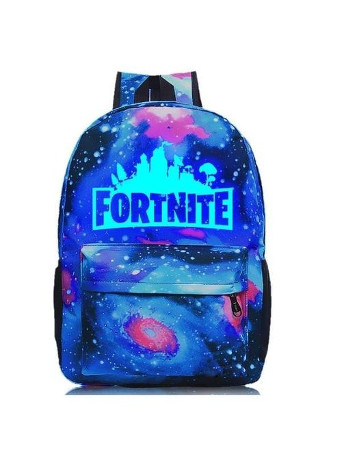 Fortnite School Backpack Childrens Fort Nite Travel Bag Purple Galaxy Stars Luminous Illuminating Fortnite Backpack