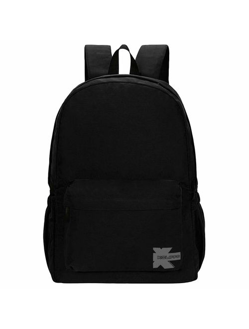 Classic Backpack High Quality Basic Bookbag Simple Student School Bag Lightweight Water Resistant Durable Daypack Black
