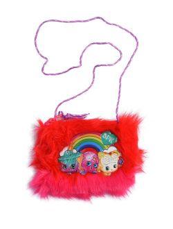 Shopkins Girls Small Faux Fur Crossbody Zip Shoulder Bag Purse Red Pink