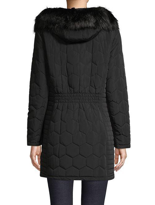 Calvin Klein Faux Fur-Trim Quilted Jacket