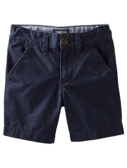 Wonder Nation Boys/' Casual Cargo Dress Flat Front Shorts Surfer Print Tan Khaki