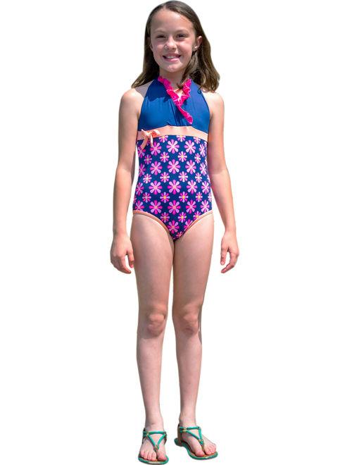 "Momo Baby Girls 4-12 One Piece ""Daisy"" Halter Swimsuit"