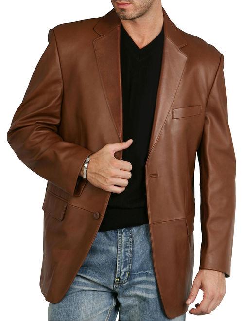 BGSD Men's Richard Classic 2-Button Lambskin Leather Blazer (Regular & Tall)