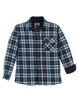 Big Boys Turquoise Black Corduroy Contrast Flannel Shirt 8-18