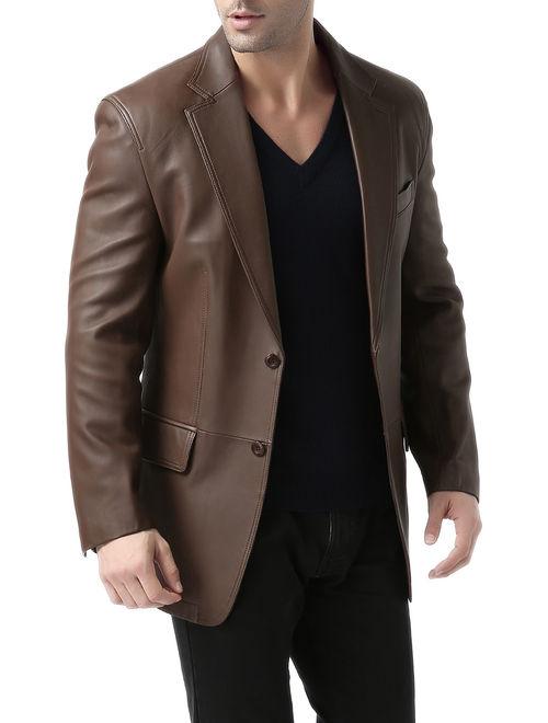 BGSD Men's Grant 2-Button New Zealand Lambskin Leather Blazer (Regular & Tall)