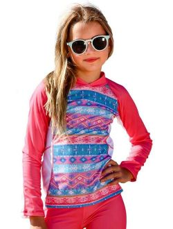 Girls Coral Pink Long Sleeve Rash Guard