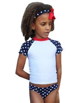 Girls White Navy Tic Tac Dot Print Short Sleeve Upf 50+ Rash Guard