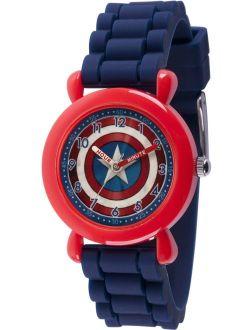 Avenger Assemble Captain America Boys' Red Plastic Time Teacher Watch, Blue Silicone Strap