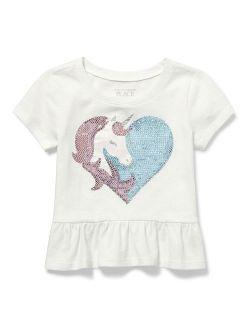 Short Sleeve Unicorn Heart Graphic Ruffle T-shirt (baby Girls & Toddler Girls)