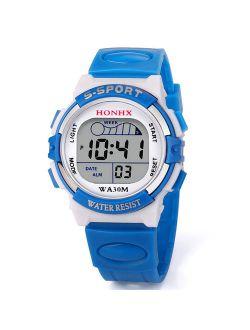 CARLTON GLOBAL Waterproof Children Boys Digital LED Sports Watch Kids Alarm Date Watch Gift