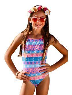 Sun Emporium Girls Coral Pink Desert Flower Print Keyhole Back Swimsuit